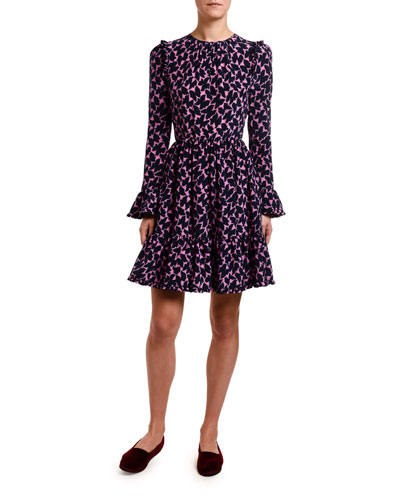 Long-Sleeve Abstract Floral Crepe Dress