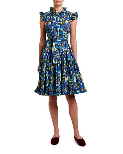 Short & Sassy Geometric Print Ruffled Poplin Dress