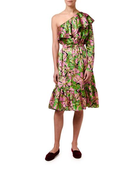 Double J Boogie One-Shoulder Floral Print Hammered Satin Dress