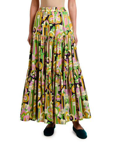 d291af6d1 Quick Look. Double J · Floral Print Tiered-Cotton Maxi Skirt