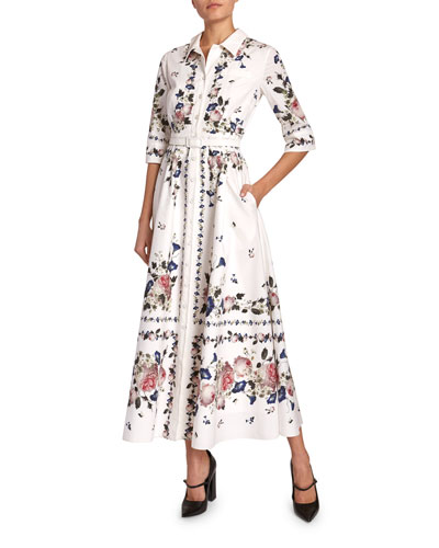 Kasia Floral Cotton Poplin Shirtdress