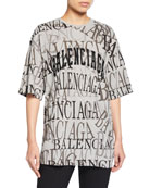 Balenciaga Logo Crewneck Short-Sleeve Graphic Tee