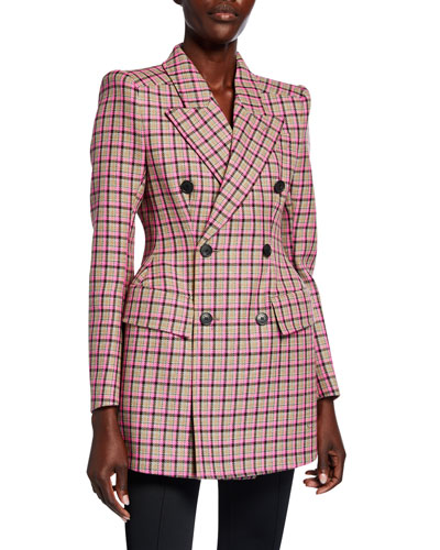 Checked Wool Hourglass Blazer