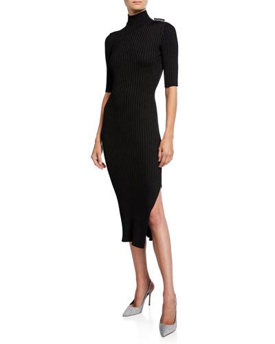 1/2-Sleeve High-Neck Dress
