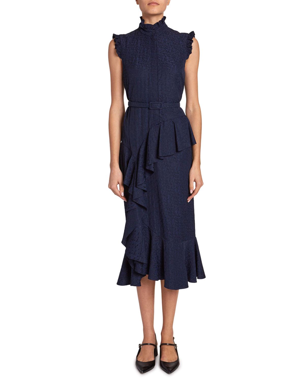 Erdem Dresses IRINA FLORAL JACQUARD BELTED RUFFLE DRESS