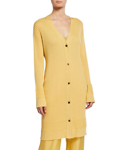 Lightweight Cashmere-Silk Ribbed Duster Cardigan, Yellow