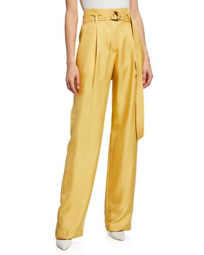 Belted High-Waist Silk Twill Pants, Yellow