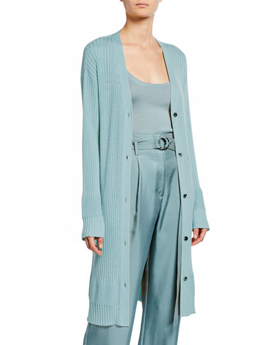 Lightweight Cashmere-Silk Ribbed Duster Cardigan, Blue