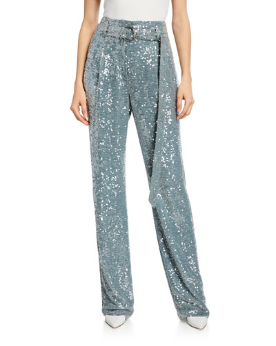 Sequined High-Waist Belted Pants