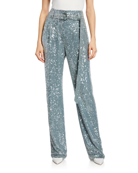 LAPOINTE Sequined High-Waist Belted Pants