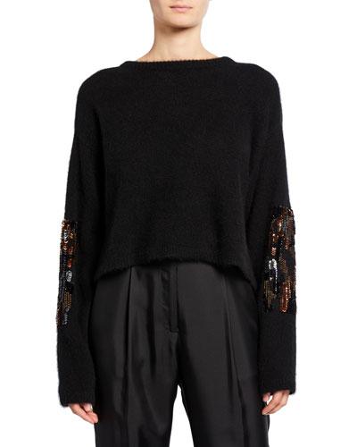 Embroidered Cashmere/Silk Boxy Sweater