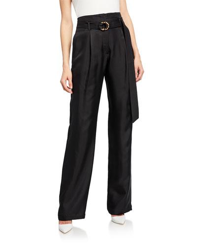 Belted High-Waist Silk Twill Pants, Black