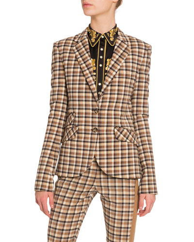 Notched Collar Tartan Jacket