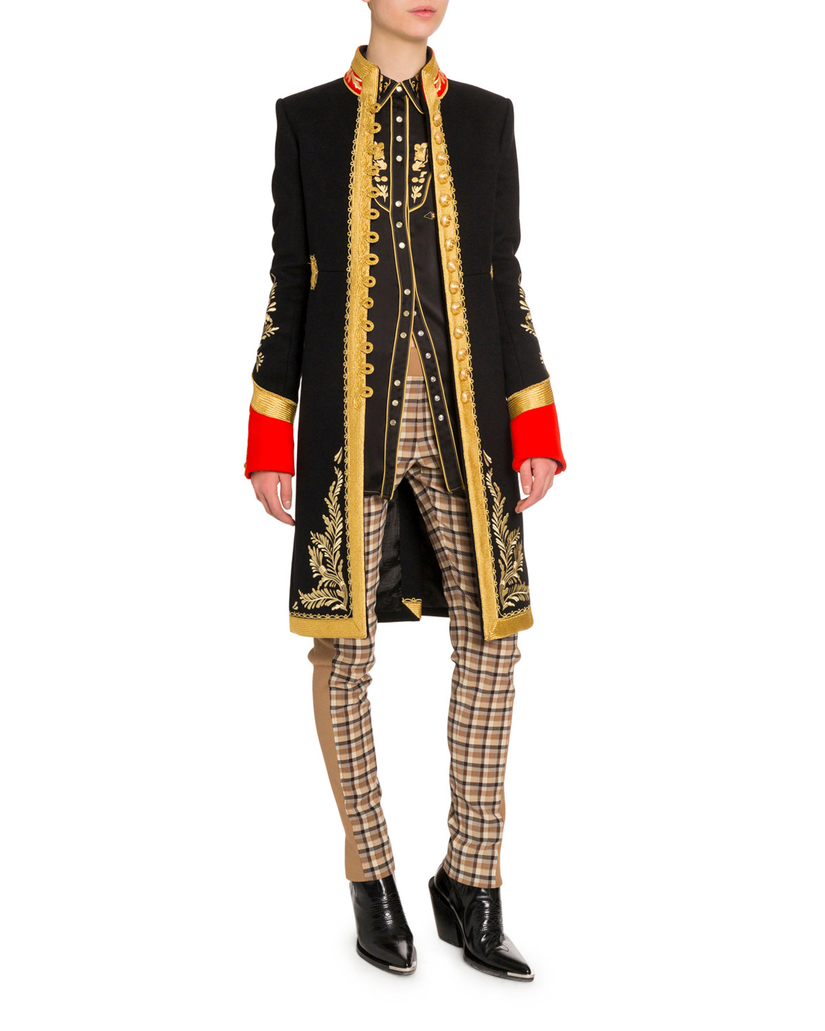 Paco Rabanne Coats GOLDEN EMBROIDERED MILITARY-STYLE COAT