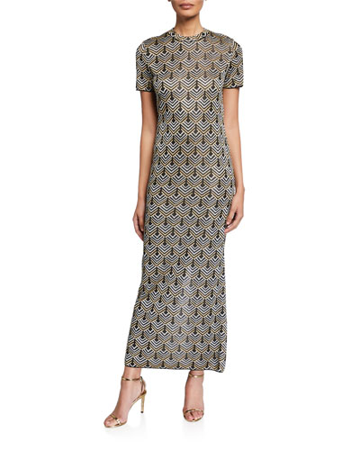 Scale-Jacquard Bodycon Maxi Dress