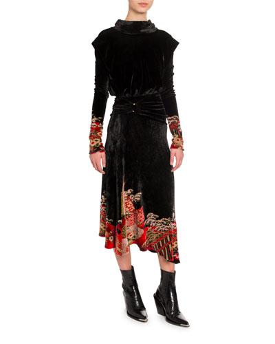 Chinoise Velvet Jacquard Dress