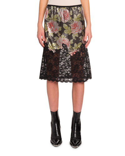 Floral Lace and Chain Mesh Skirt