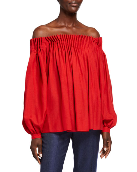 Gabriela Hearst Off-the-Shoulder Gauze Blouse