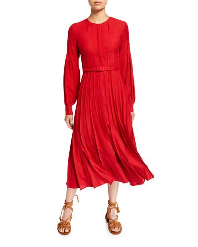 Gertrude Wool/Cashmere Button-Front Dress