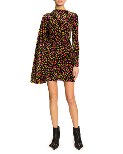 Floral Print Draped Side Velvet Dress