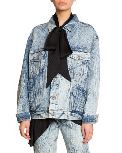 Scarf Neck Embroidered Denim Jacket