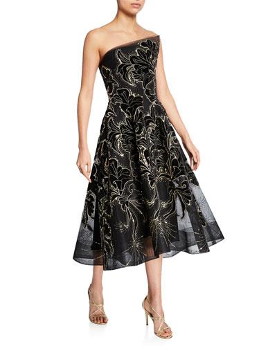 Strapless Floral Velvet Embroidered Tea-Length Dress