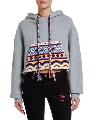 Cutoff Hoodie Sweatshirt with Knit Pocket