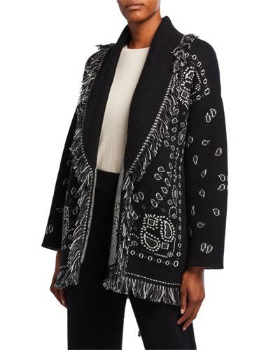 Cashmere Bandana-Jacquard Cardigan Sweater