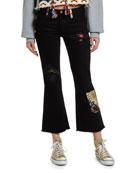 Alanui Flared Rip & Repair Jeans with Silk