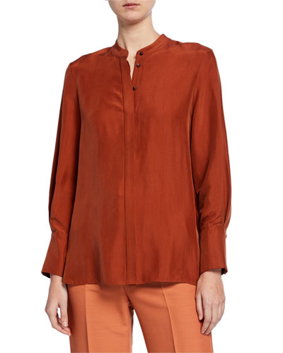 Roz Mandarin-Neck Silk Tunic