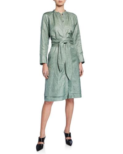 Poe Shiny-Coated Linen Jewel-Neck Shirtdress