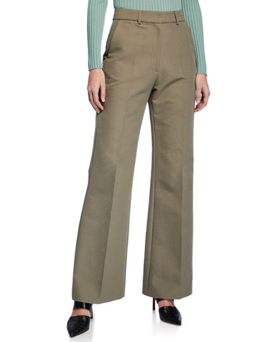 Emilio High-Rise Brushed Cotton Straight-Leg Pants