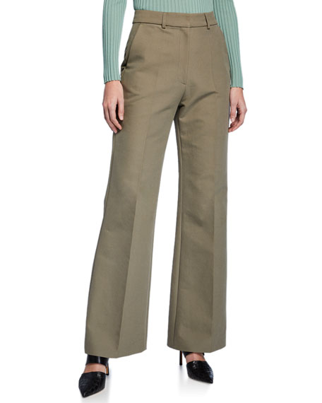 Partow Emilio High-Rise Brushed Cotton Straight-Leg Pants
