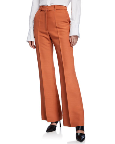 Emilio High-Rise Wool Crepe Straight-Leg Pants