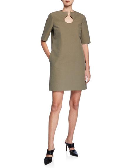 Partow Nina Short-Sleeve Split-Neck Dress
