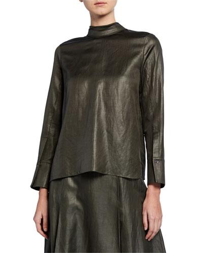 Everett Shiny-Coated Linen Blouse