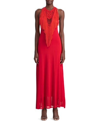 Hand-Knotted Fringe Halter Dress
