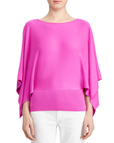 Cashmere Draped-Sleeve Sweater