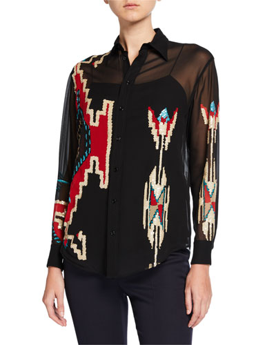 Antonella Geometric Beaded Blouse with Camisole