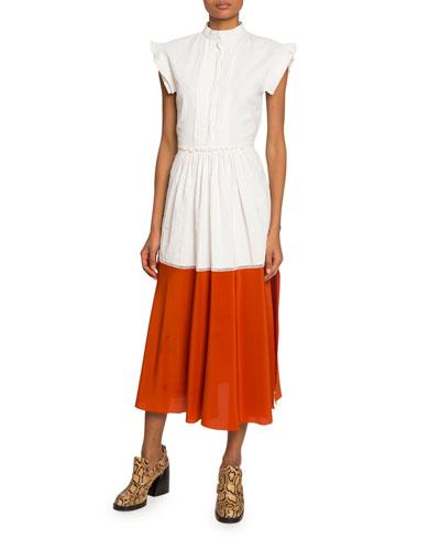 Cap-Sleeve Two-Tone Coated Linen Dress