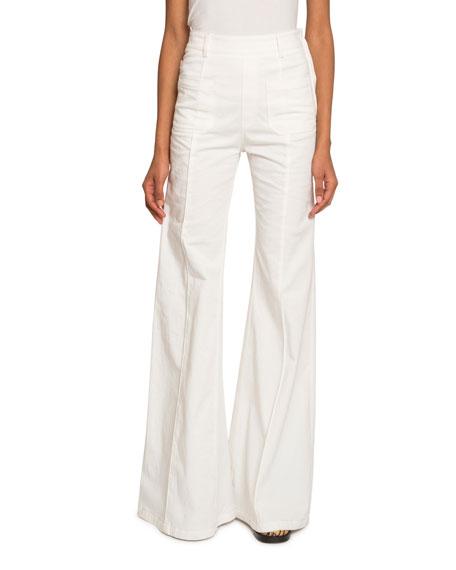 Chloe High-Waist Patch Pocket Flare Jeans