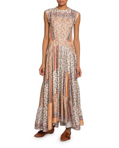 Bandana-Print Silk Tiered Maxi Dress