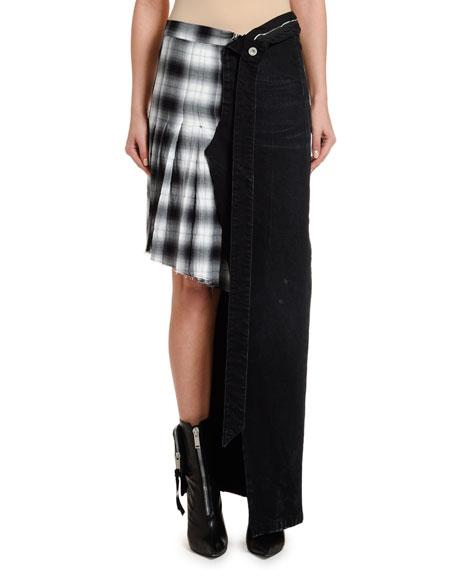UNRAVEL Asymmetric Checked & Denim Unbutton Skirt