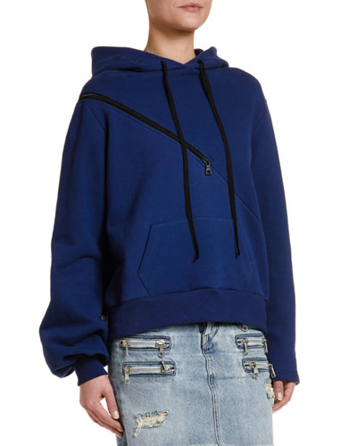 Brushed Terry Diagonal-Zip Hoodie
