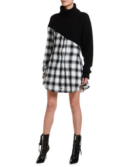 UNRAVEL Wool-Cashmere Hybrid Plaid Shirtdress