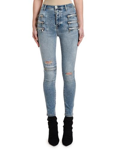 Bleached Triple-Zip Skinny Jeans