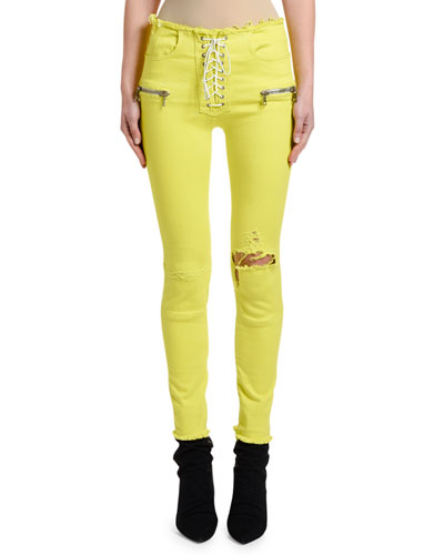 Overdyed Lace-Up Skinny Jeans