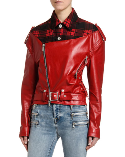 Flannel-Collar Faux-Leather Biker Jacket