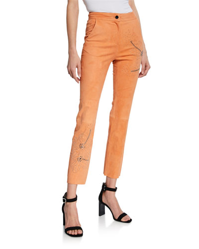 Tropical-Studded Suede Pants