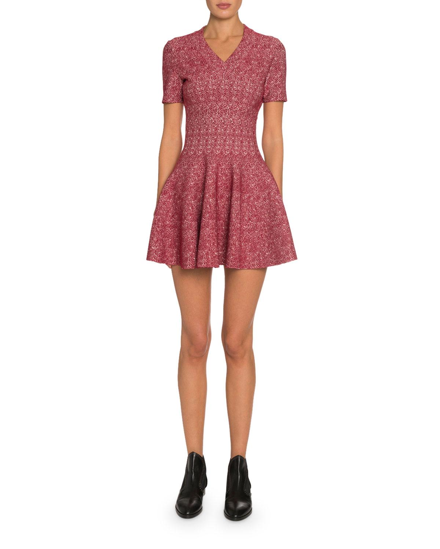 Alaïa Dresses SPIDER FLORAL JACQUARD V-NECK DRESS